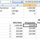 Menghitung penyusutan garis lurus menggunakan rumus excel SLN